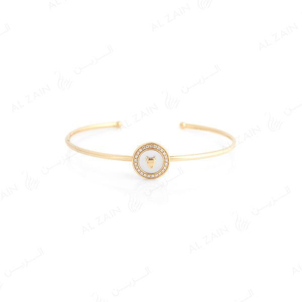 Bahrain Bangle in 18k yellow gold with Mother of Pearl and Diamonds - Al Zain Jewellery
