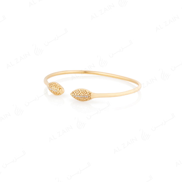 18k Al Merriyah M/5 bangle in yellow gold with diamonds - Al Zain Jewellery