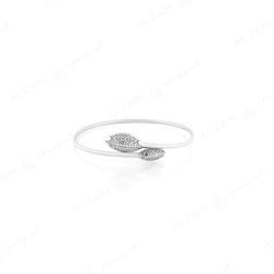 18k Al Merriyah M/5 bangle in white gold with diamonds - Al Zain Jewellery