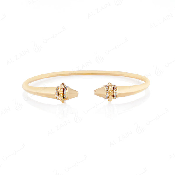 18k Hab El Hayl Origins Bangle in Yellow Gold with Diamonds