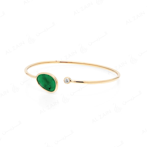 Precious Nina Bangle in 18k yellow gold with Emerald stones and diamond