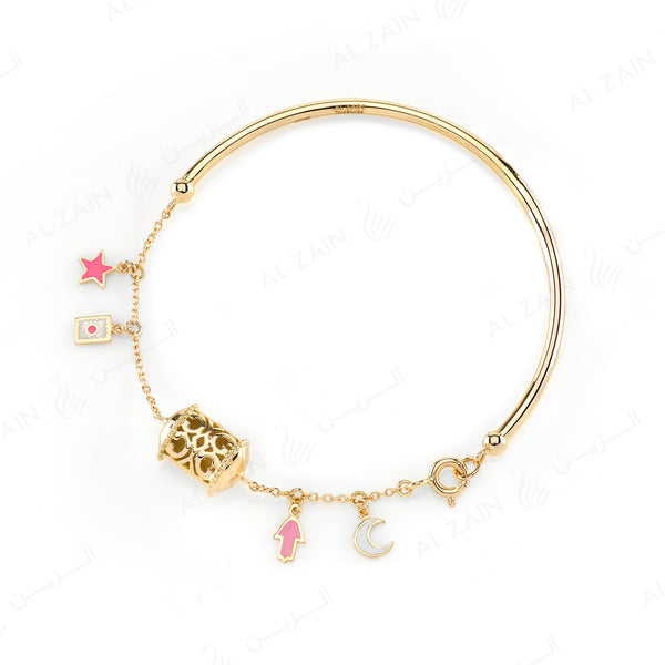 Kids Talisman Bangle in Yellow Gold & Pink Enamel - Al Zain Jewellery