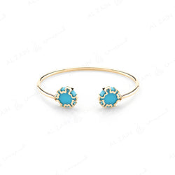 Cordoba Kids Bangle in Yellow Gold with Turquoise Stone - Al Zain Jewellery