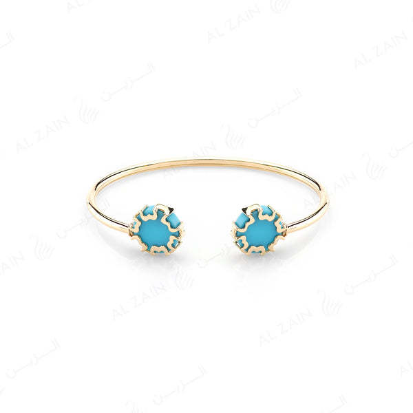 Cordoba Kids Bangle in Yellow Gold with Turquoise Stone