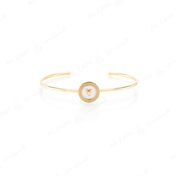 Bahrain Flag Bangle in 18k yellow gold with Mother of Pearl Stone