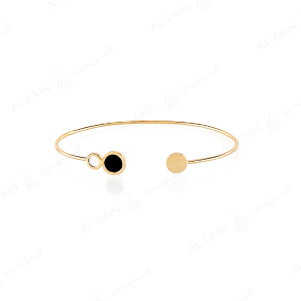 Yellow Gold Dusk till Dawn Bangle with Onyx and Mother of Pearl