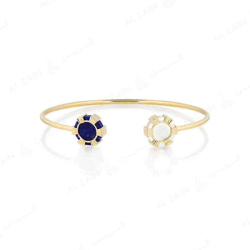 Cordoba bangle in yellow gold with lapis stone - Al Zain Jewellery