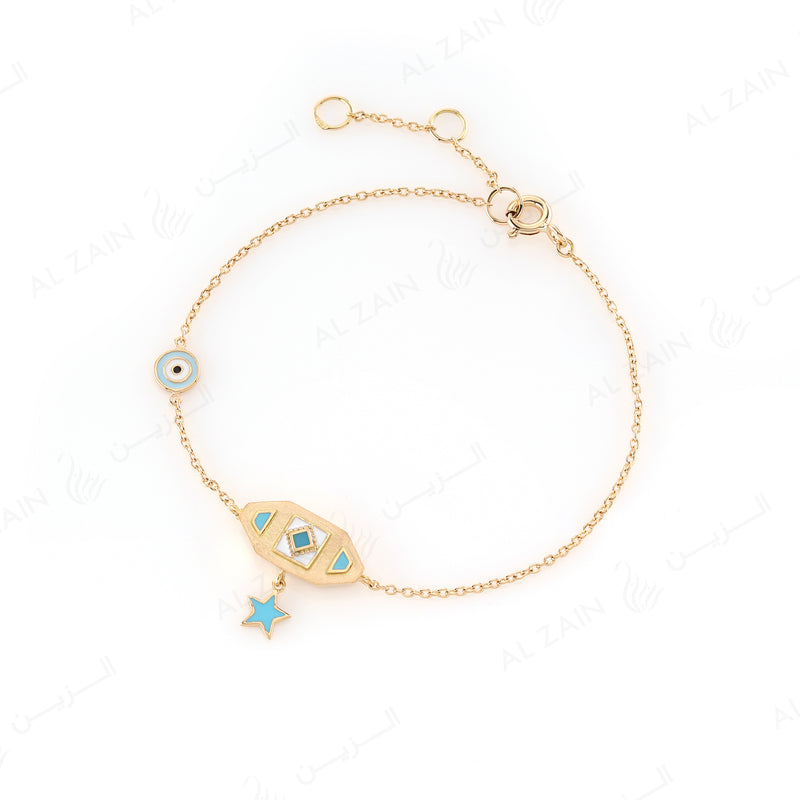 Kids Talisman Bracelet in Yellow Gold & Blue Enamel - Al Zain Jewellery