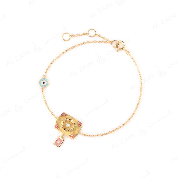 Kids Talisman Bracelet in Yellow Gold & Blue and Pink Enamel - Al Zain Jewellery