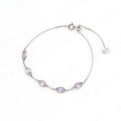 Nina Bracelet in White Gold with Briolette Stone - Al Zain Jewellery