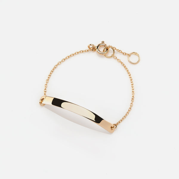Kids Tag Chain Bracelet in Yellow Gold