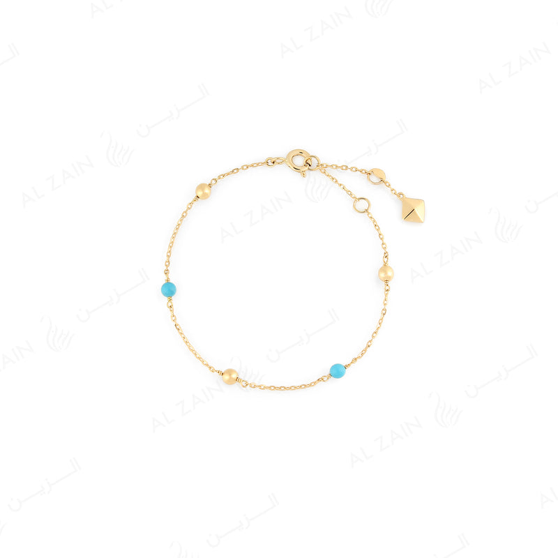 Kids gold ball bracelet in yellow gold with turquoise stones - Al Zain Jewellery