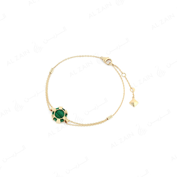 Cordoba bracelet in yellow gold with malachite stone - Al Zain Jewellery