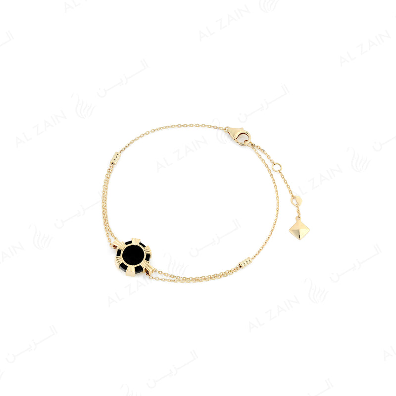 Cordoba bracelet in yellow gold with onyx stone - Al Zain Jewellery