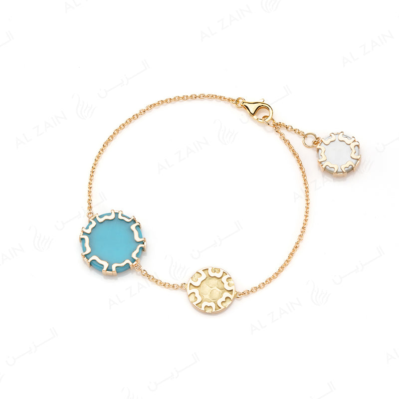 Cordoba Bracelet in Yellow Gold with Turquoise & Mother of Pearl - Al Zain Jewellery
