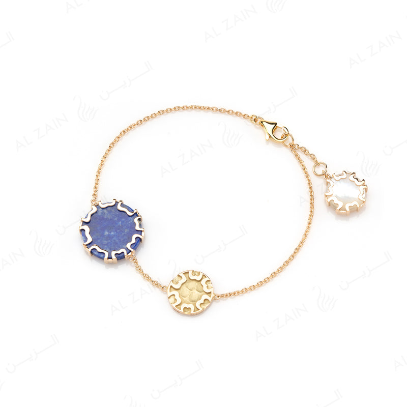 Cordoba Bracelet in Yellow Gold with Lapis & Mother of Pearl - Al Zain Jewellery