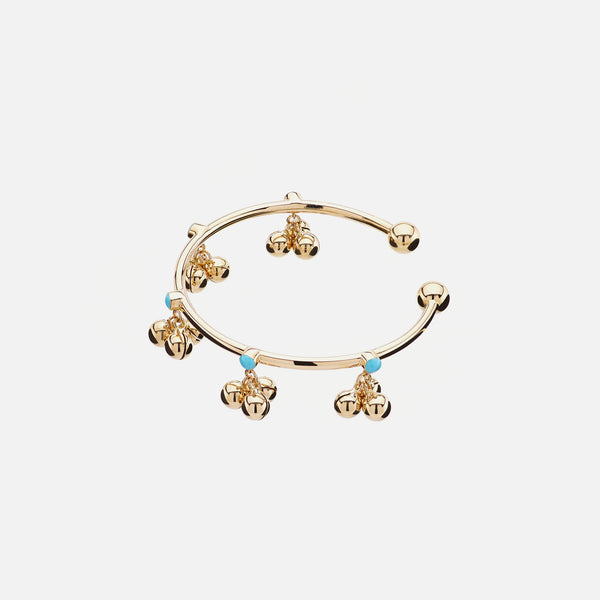 Kids high-end bangle in yellow gold with turquoise stones - Al Zain Jewellery
