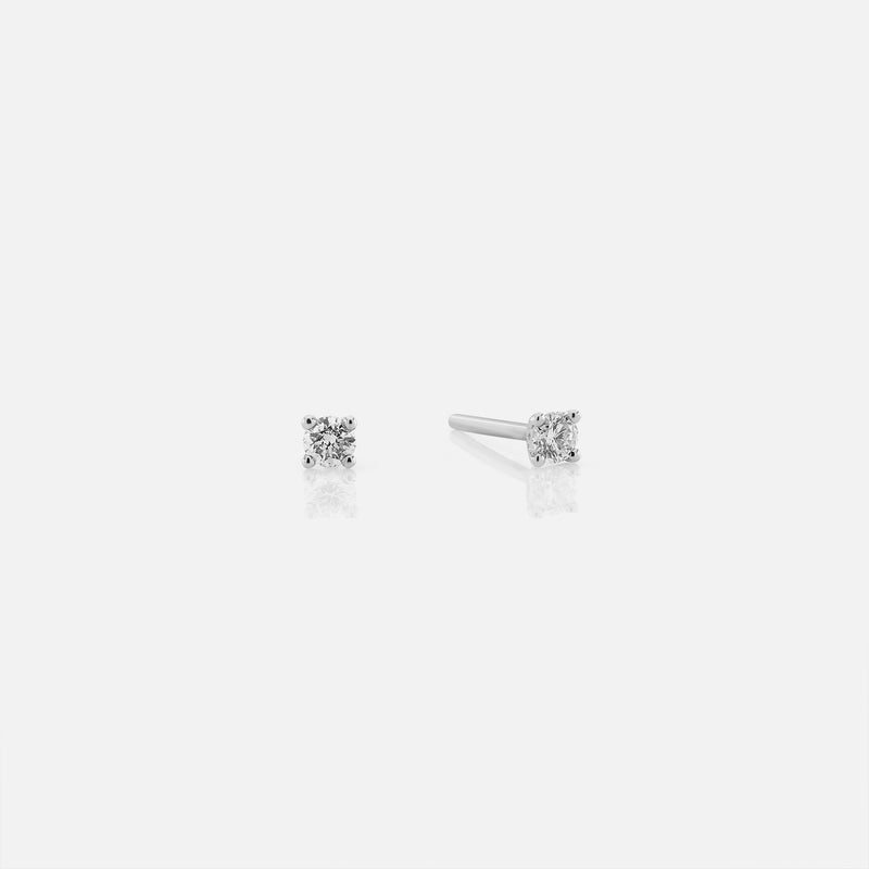 18k Solitaire Earrings in white Gold