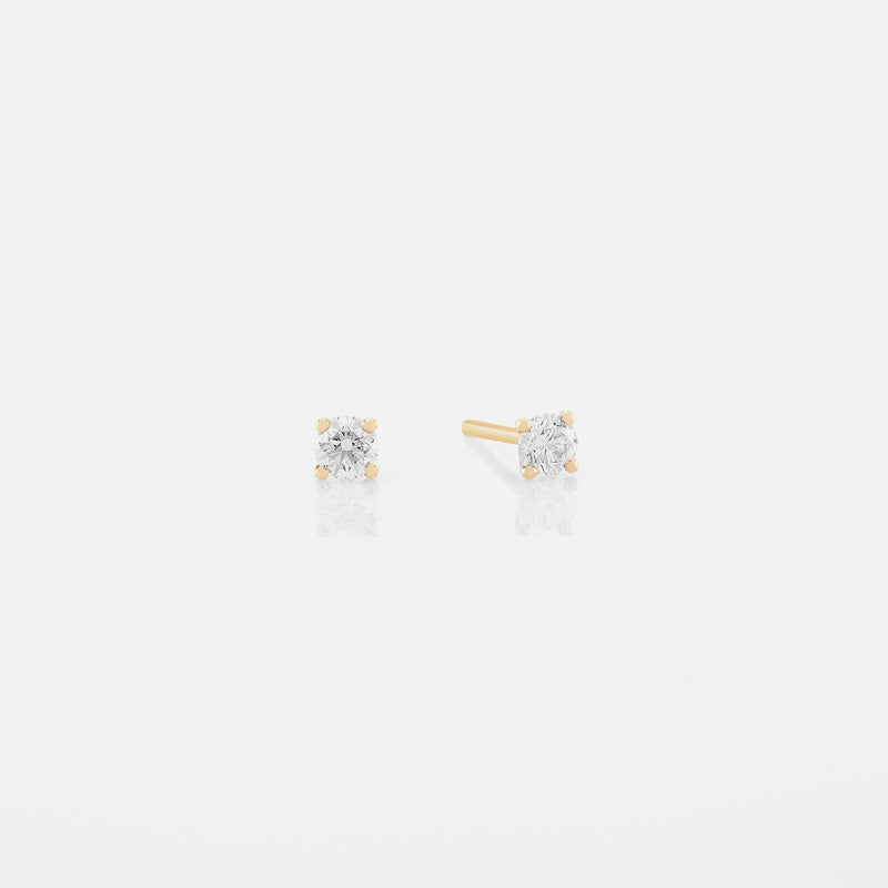 18k Solitaire Earrings in yellow Gold