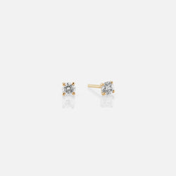 18k Solitaire Earrings in yellow Gold - Al Zain Jewellery