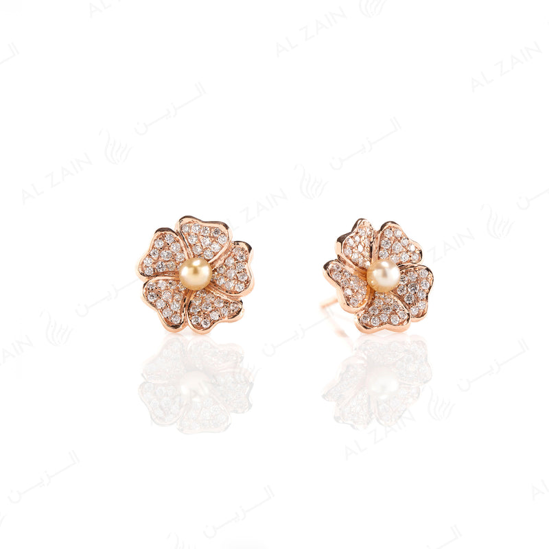 Natural Pearl Earrings in Rose Gold with Diamonds - Al Zain Jewellery