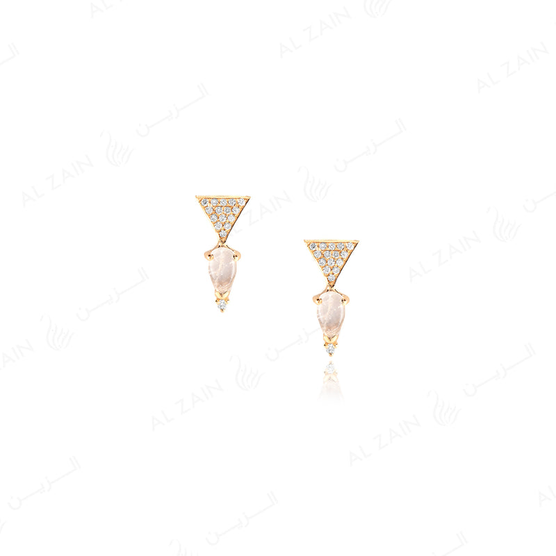 Melati triangle Earrings in Yellow Gold with Diamonds and moon stone - Al Zain Jewellery