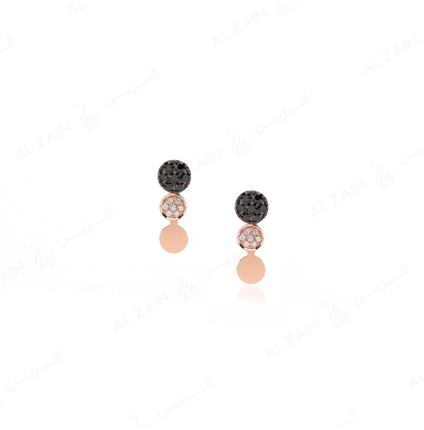 Rose Gold Dusk till Dawn Earrings with Diamonds - Al Zain Jewellery