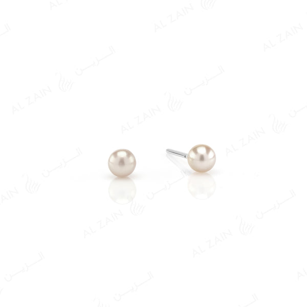 Natural Pearl Stud Earrings in White Gold
