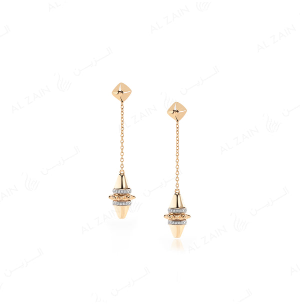 Hab El Hayl Earrings in Yellow Gold with Diamonds - Al Zain Jewellery