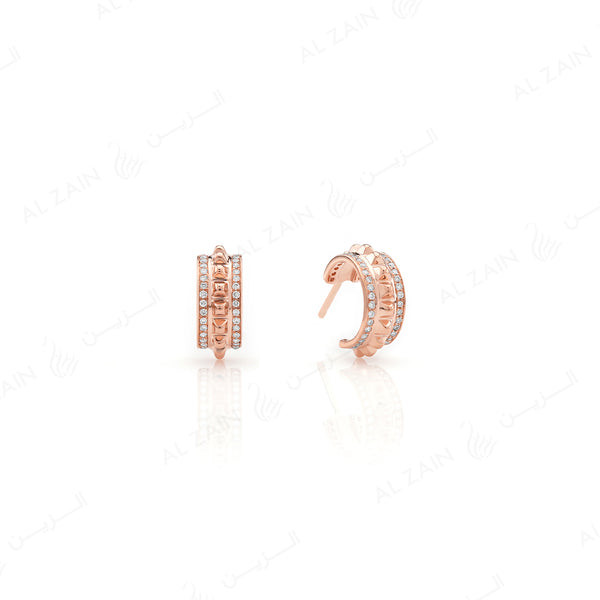 Hab El Hayl 2nd Edition Earrings in Rose Gold with Diamonds - Al Zain Jewellery