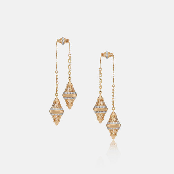 Al Merriyah Earrings in Yellow Gold with Diamonds