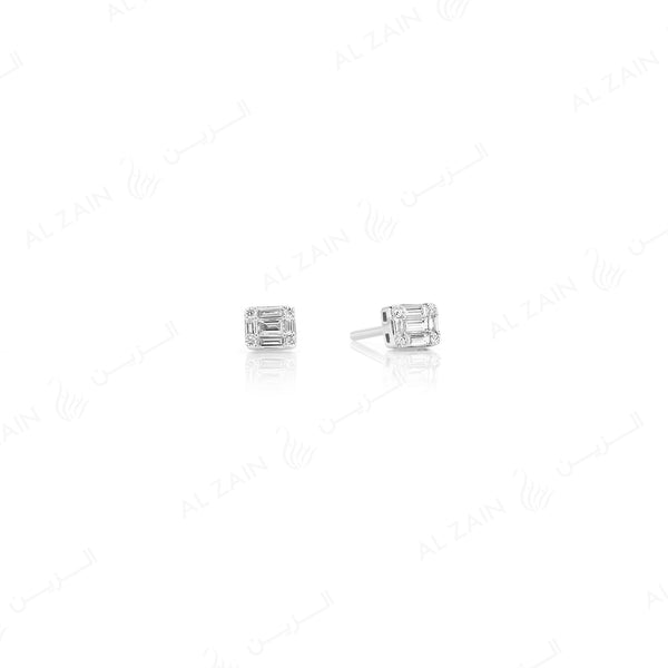 18k White gold stud earrings in emerald cut illusion set diamonds