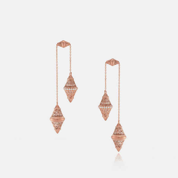 Al Merriyah rosegold edition. Matte finish earrings with diamonds - Al Zain Jewellery