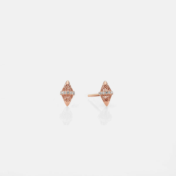 Al Merriyah rosegold edition. Polished finish earrings with diamonds - Al Zain Jewellery