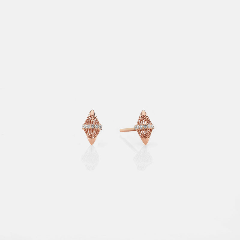 Al Merriyah rosegold edition. 18k Polished finish earrings with diamonds - Al Zain Jewellery