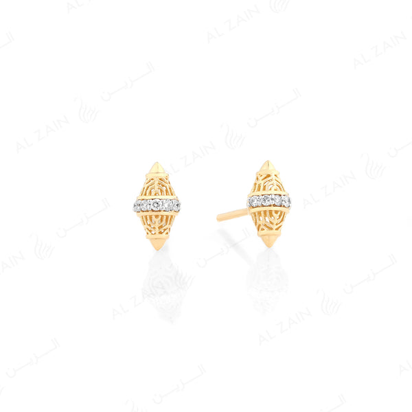 Polished finish Al Merriyah 18k gold earrings with diamonds - Al Zain Jewellery
