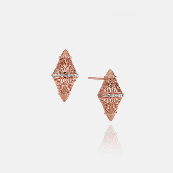 Al Merriyah in 18k rosegold edition. Matte finish earrings with diamonds - Al Zain Jewellery