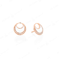 Al Hilal earrings in rose gold with mother of pearl stone and diamonds - Al Zain Jewellery