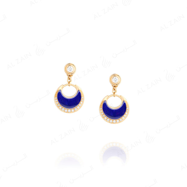 Al Hilal earrings in yellow gold with lapis stone and diamonds - Al Zain Jewellery