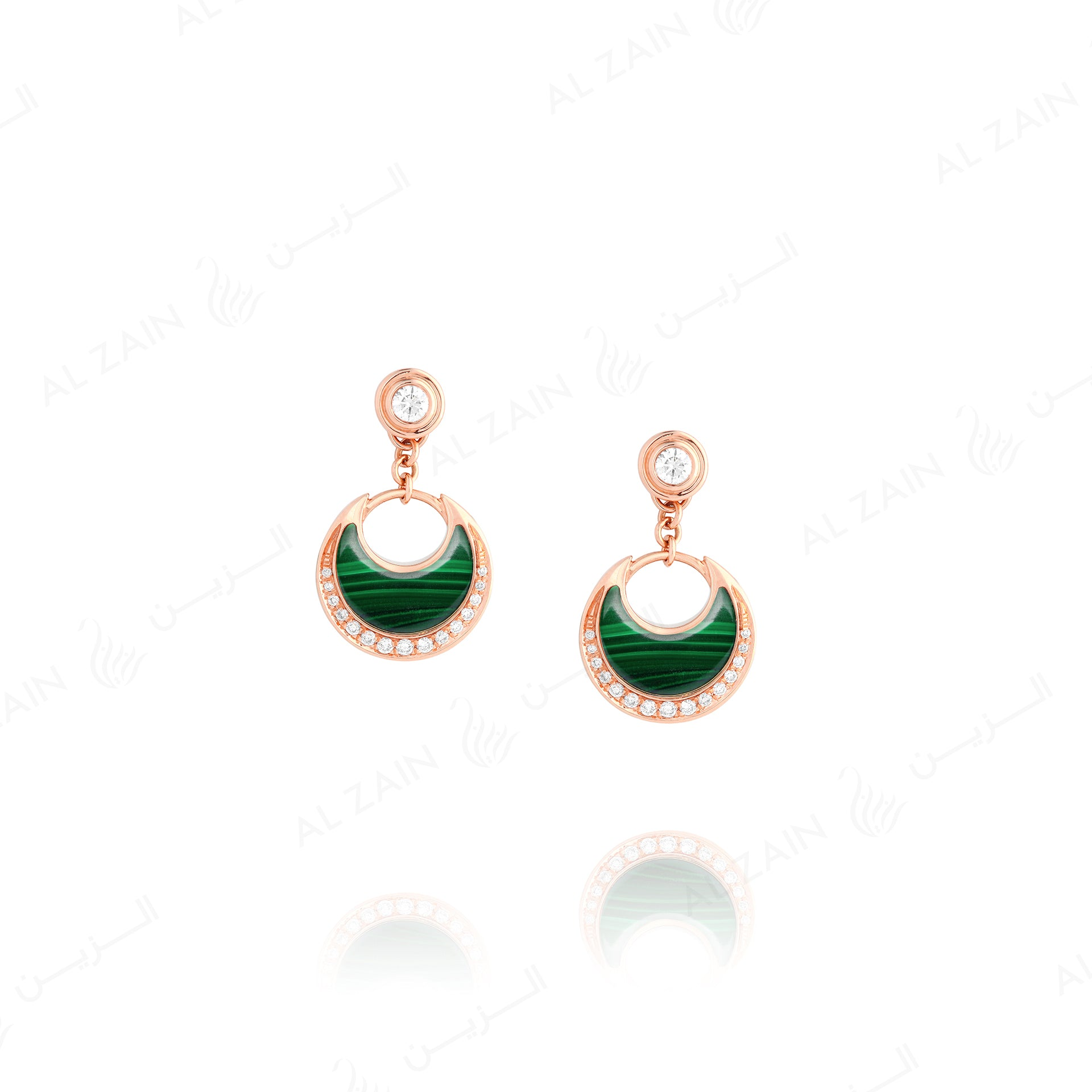 Al Hilal earrings in rose gold with malachite stone and diamonds - Al Zain Jewellery