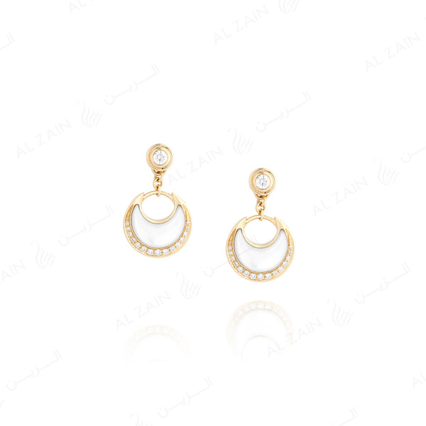 Al Hilal earrings in yellow gold with mother of pearl stone and diamonds - Al Zain Jewellery