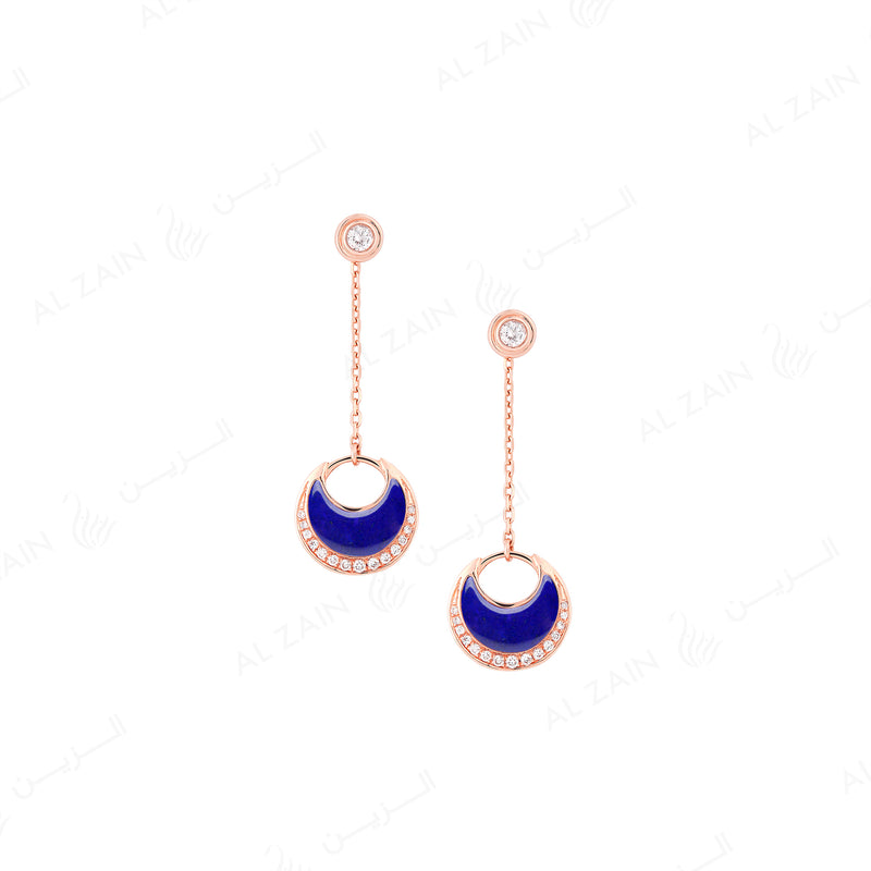 Al Hilal earrings in rose gold with lapis stone and diamonds - Al Zain Jewellery