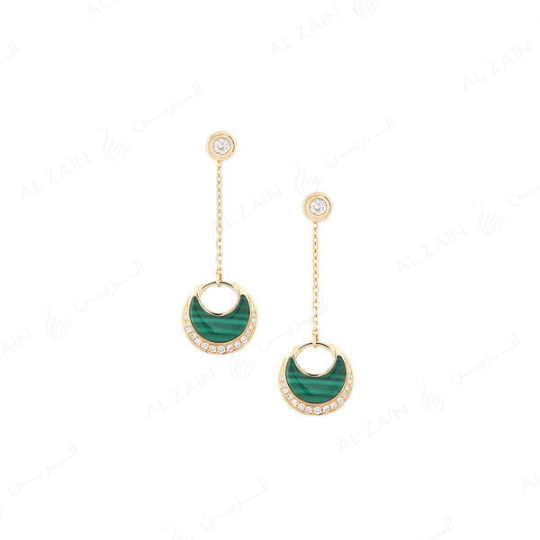 Al Hilal earrings in yellow gold with malachite stone and diamonds - Al Zain Jewellery