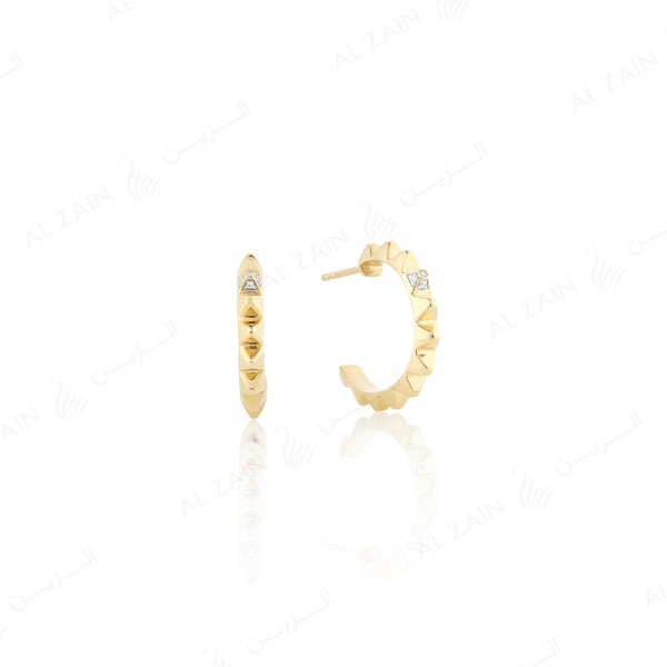 Hab El Hayl Hoop Earrings in Yellow Gold with diamond - Al Zain Jewellery