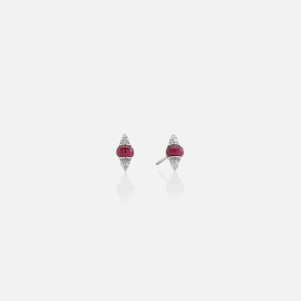 Al Merriyah mood colour earrings in 18k white gold with ruby and diamonds