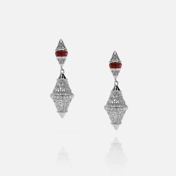 Al Merriyah mood colour earrings in 18k white gold with ruby and diamonds - Al Zain Jewellery