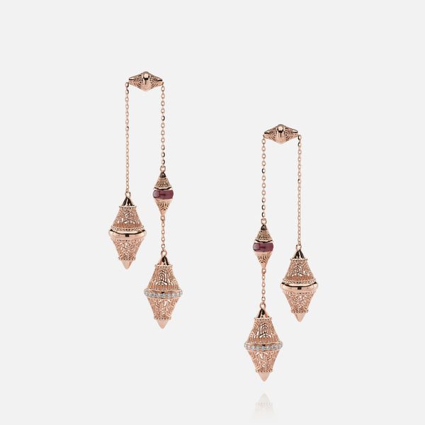 Al Merriyah mood colour earrings in rose gold with ruby stones and diamonds