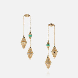 Al Merriyah mood colour earrings in 18k yellow gold with emerald and diamonds - Al Zain Jewellery
