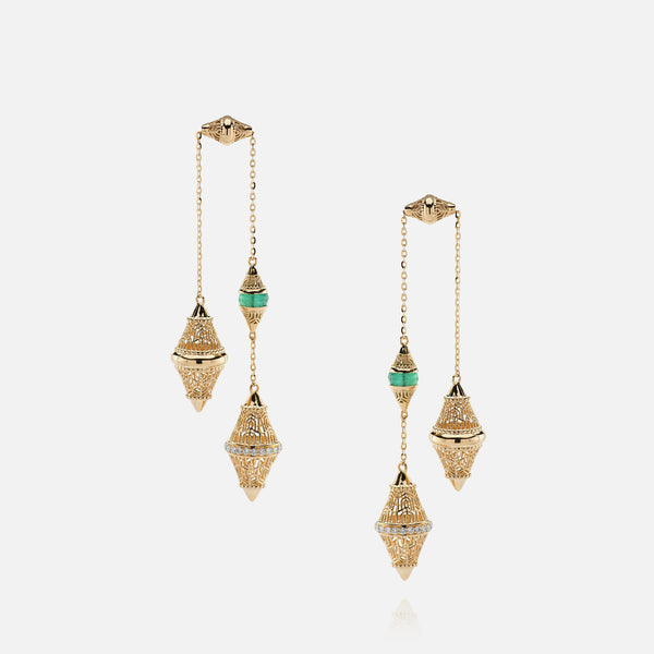 Al Merriyah mood colour earrings in yellow gold with emerald stones and diamonds