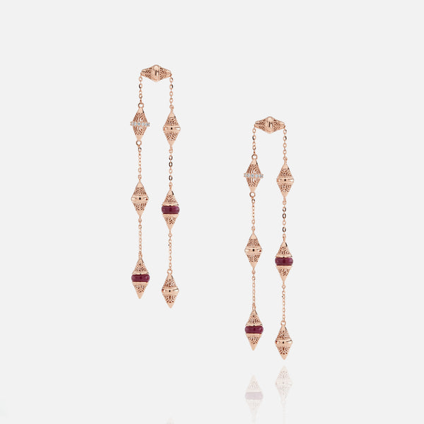 Al Merriyah mood colour earrings in 18k rose gold with ruby and diamonds - Al Zain Jewellery